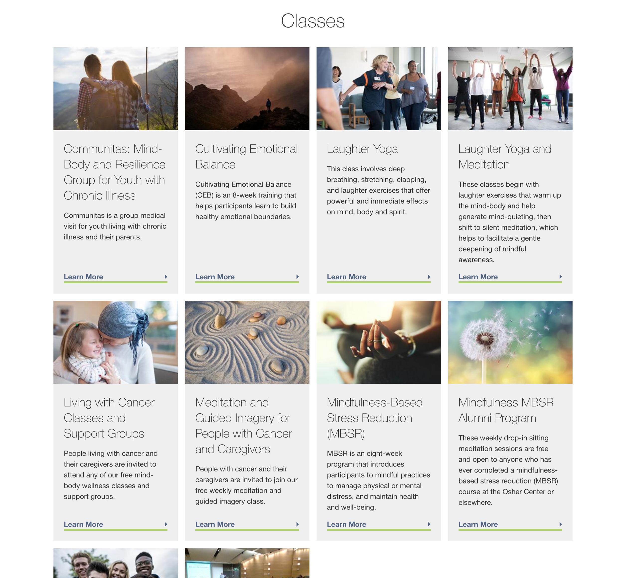 A screenshot of UCSF Oscher's online classes, a Kanopi Studios case study.
