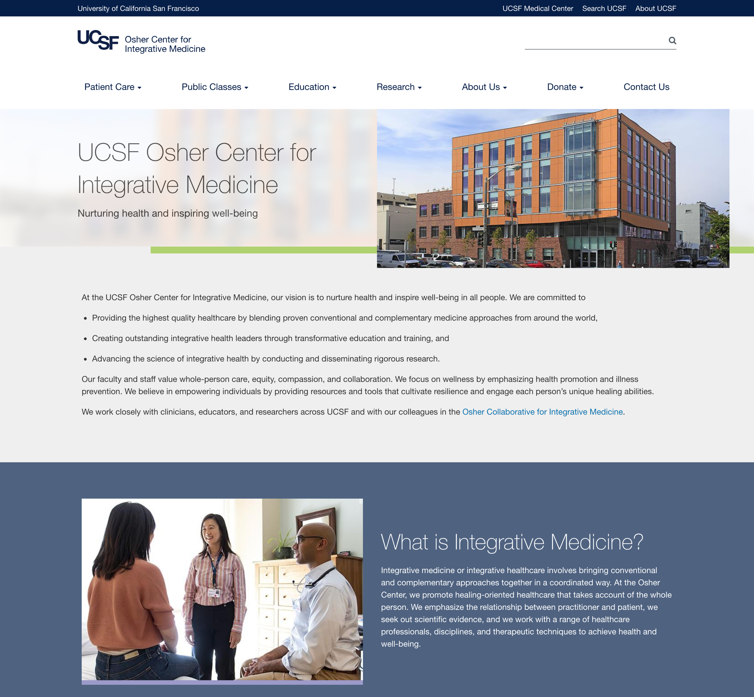 A screenshot of UCSF Oscher's homepage, a Kanopi Studios case study.
