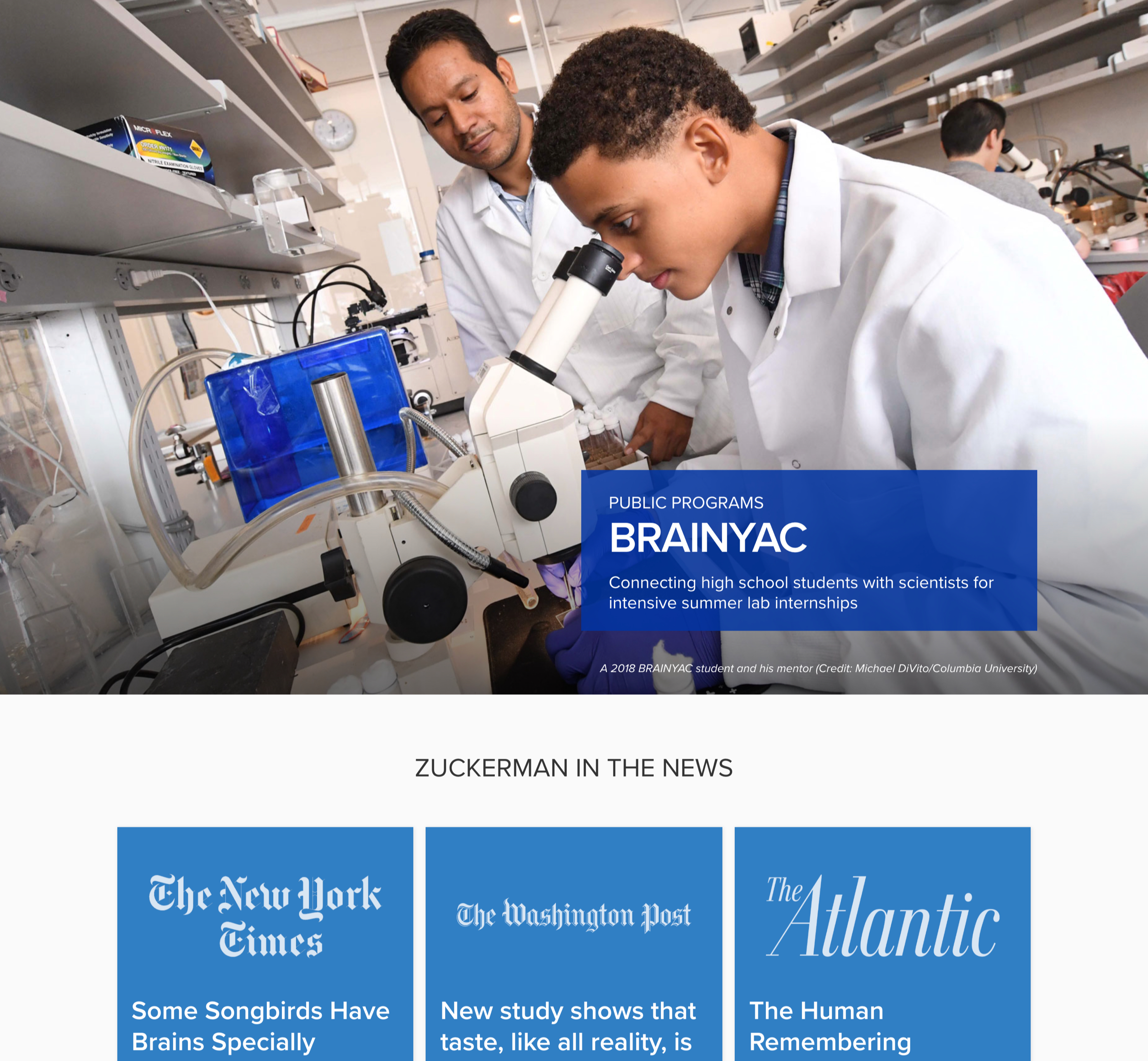 A screenshot of Columbia University's Zuckerman Institute homepage featured program, a Kanopi Studios case study.