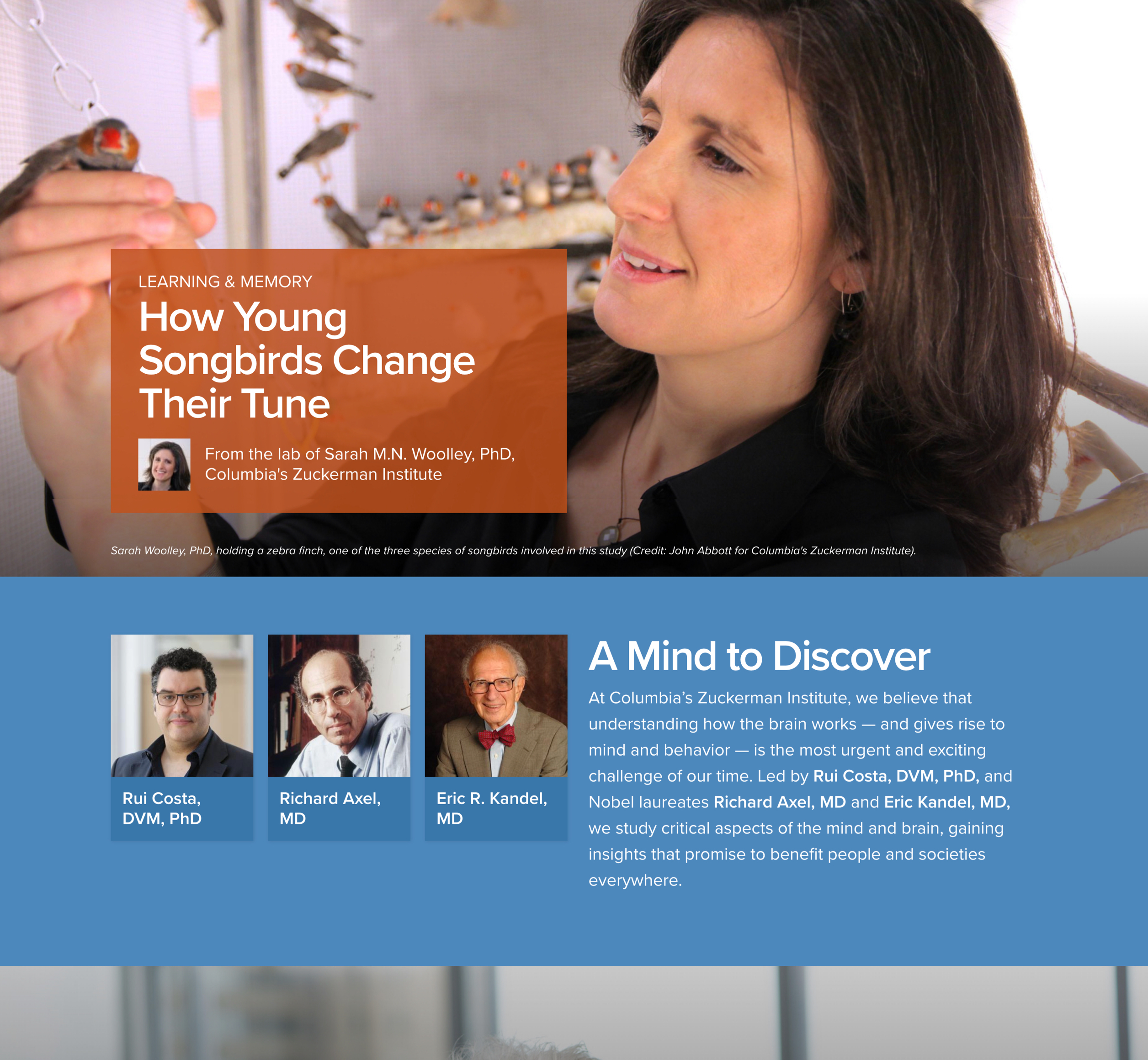 A screenshot of Columbia University's Zuckerman Institute homepage, a Kanopi Studios case study.