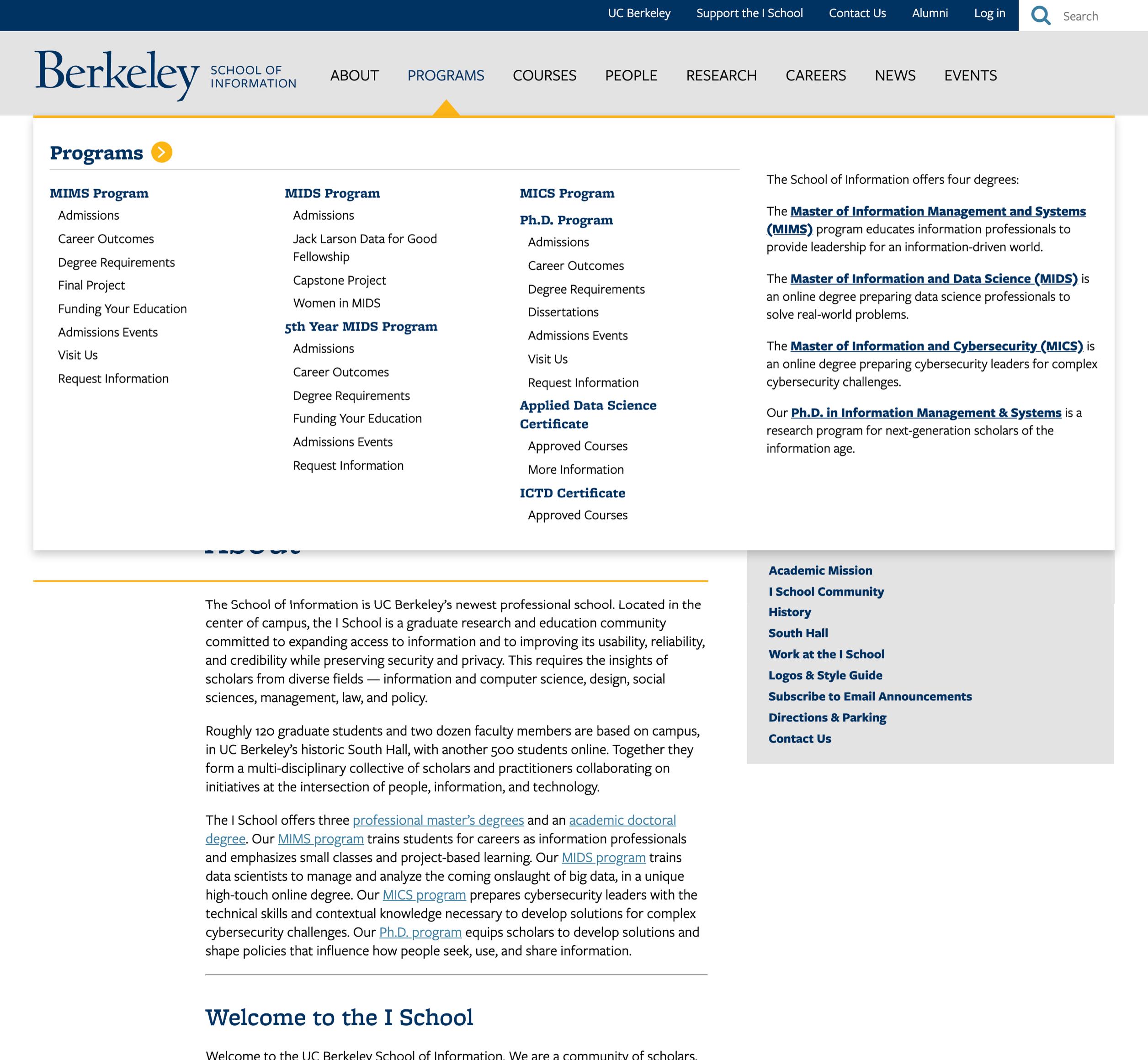 A screenshot of Berkeley School of Information's intranet's menu, a Kanopi Studios case study.