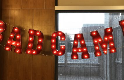 BADCamp sign made up of lights