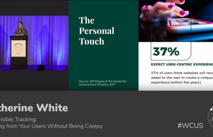 Split-screen of Kat White on left behind a podioum at WordCamp US, with an image from her slides on the right talking about user privacy.