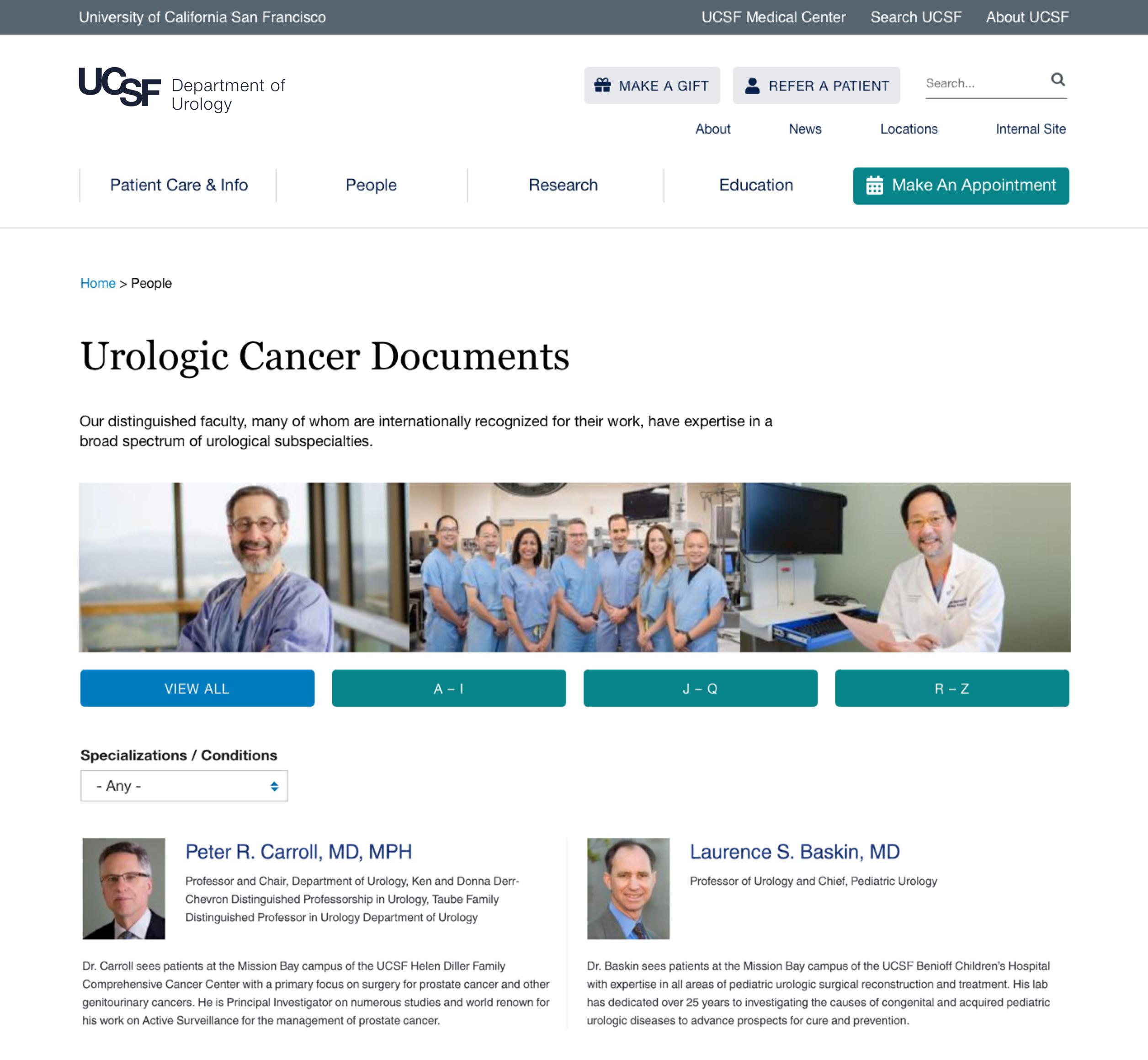 UCSF Urology document list page