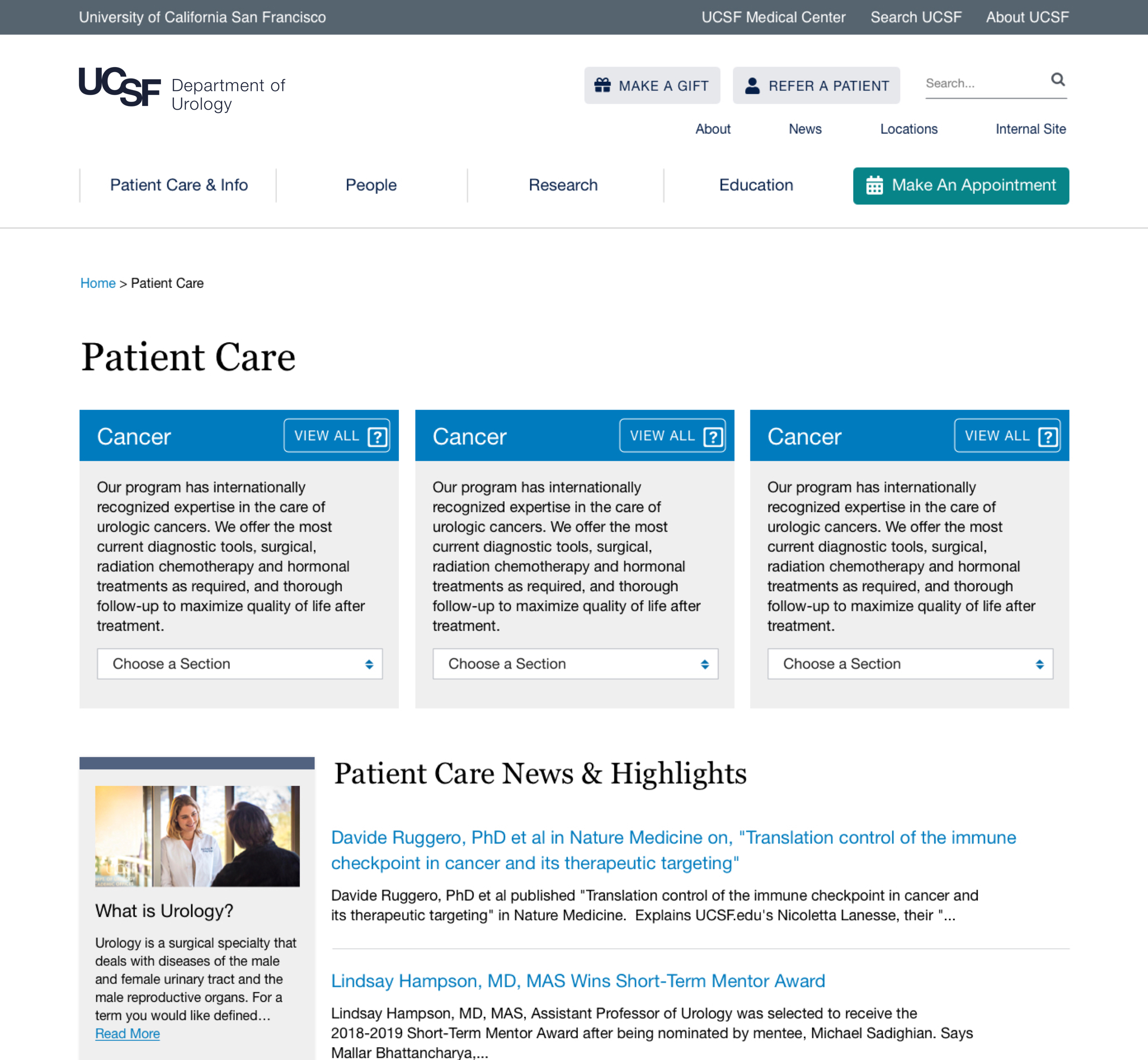 UCSF Urology Patient Care page