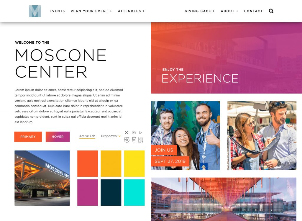 Style tile for Moscone Center, showing colors, photography, buttons, and typography.