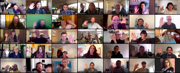 The Kanopi staff on a Zoom video chat.
