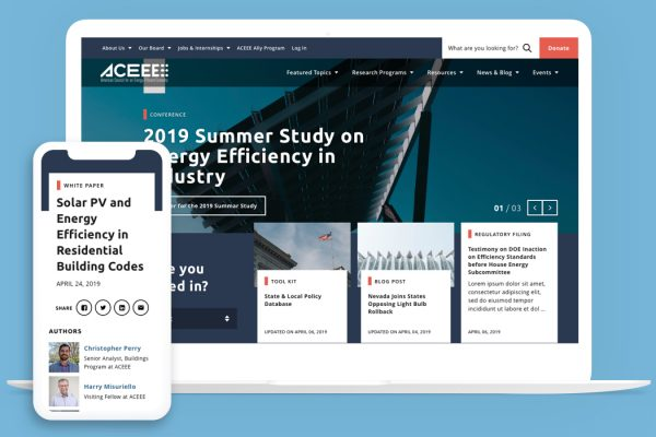 ACEEE Home Page on several devices