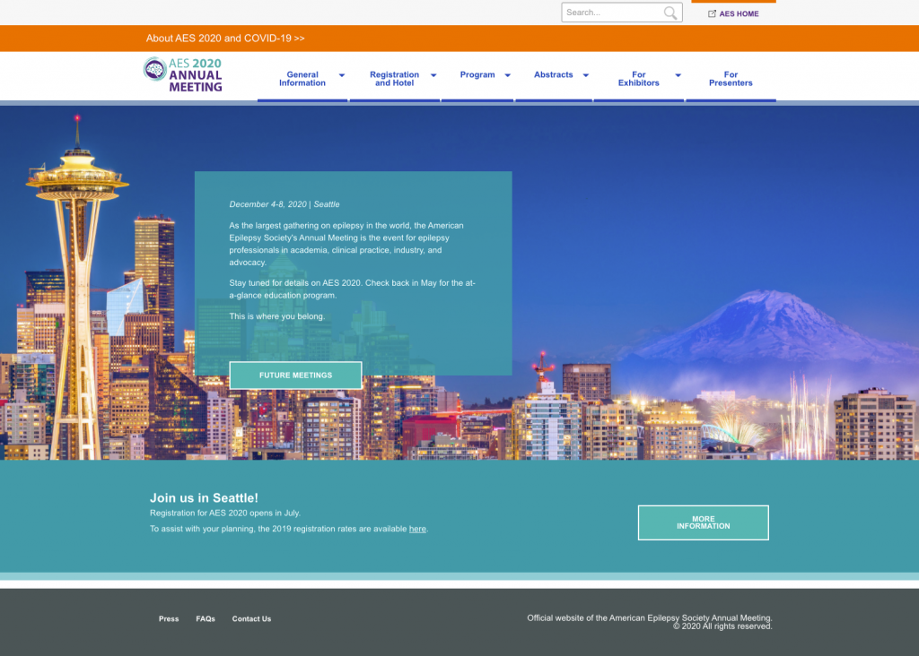 After image of the AES homepage for the 2019 Meeting