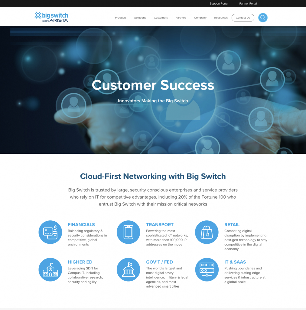 The Big Switch Customer Success page after Kanopi's redesign.