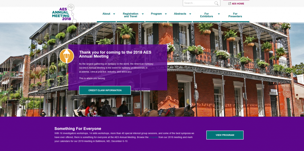 BEFORE image of the AES homepage for the 2018 Meeting