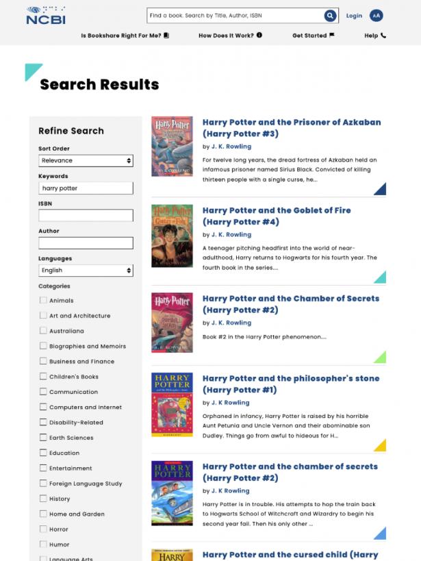 NCBI Search results view
