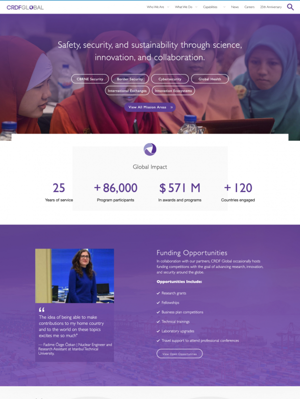 CRDF Global Homepage redesign