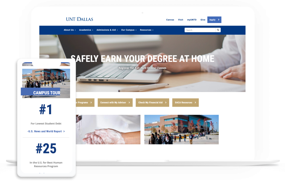 UNT Dallas on laptop and mobile device