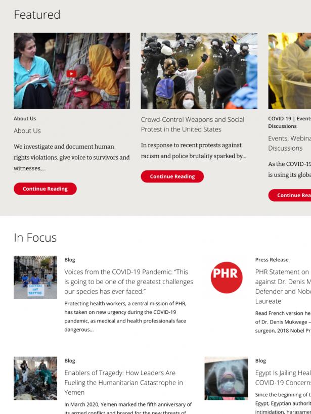 PHR Focused Featured Content