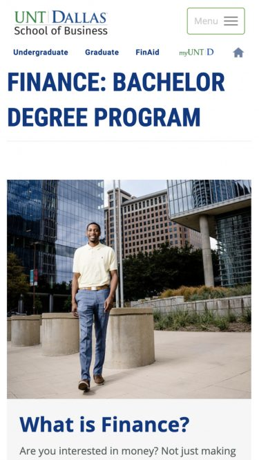 Program Page for UNT Finance