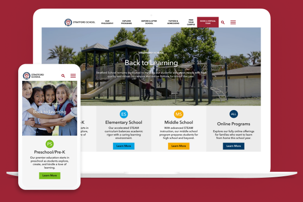 Stratford School website on multiple devices