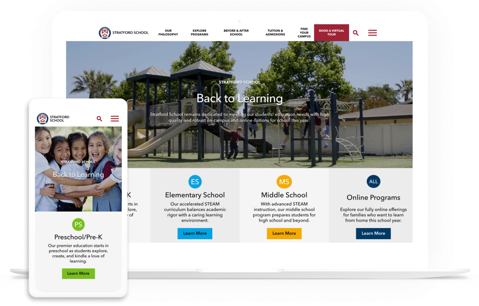Stratford Schools home page on multiple devices
