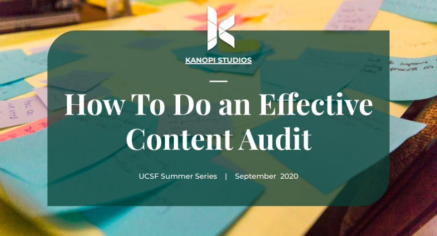 Cover image for UCSF content audit presentation