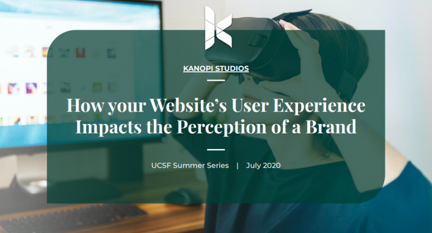 """Cover image for UCSF presentation on """"How your websites UX impacts the perception of a brand"""""""