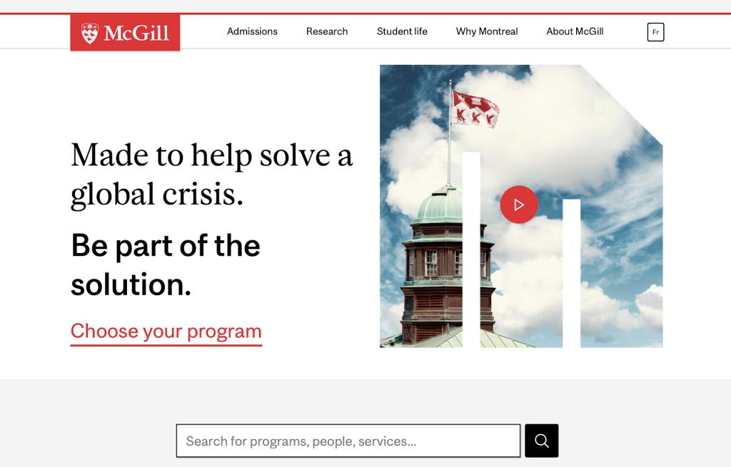 Here is a screenshot of McGill University's website.