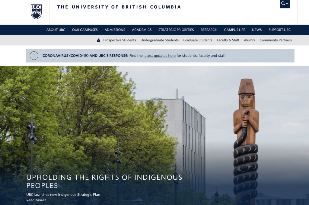 This is a screenshot image of the University of British Columbia's website.