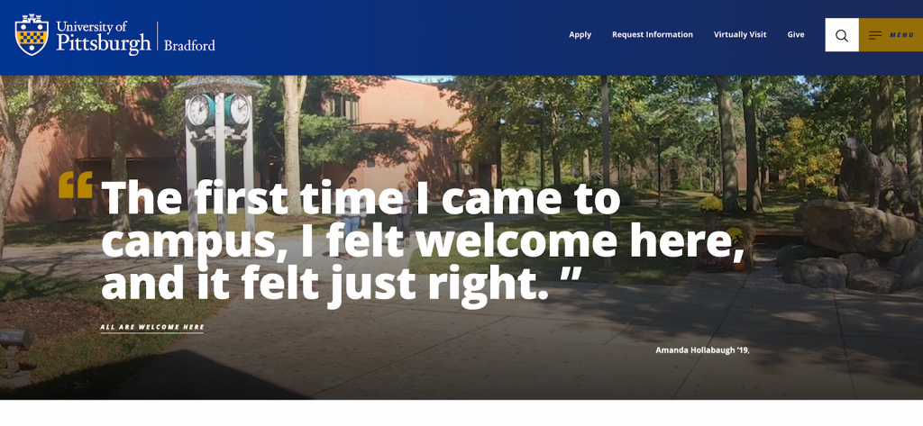 This is a screenshot of the University of Pittsburgh at Bradford's website.
