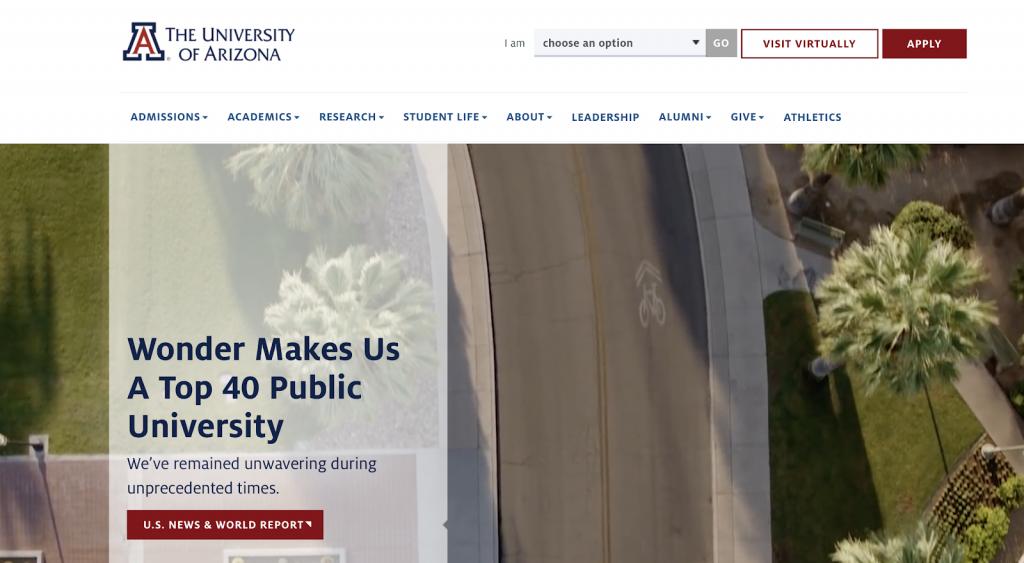 This is a screenshot of University of Arizona's website.