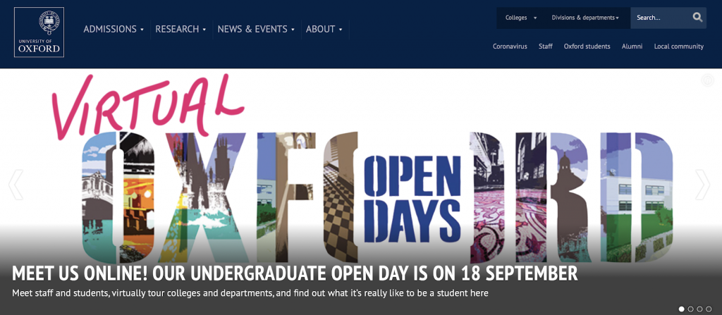 This is a screenshot of Oxford University's website.