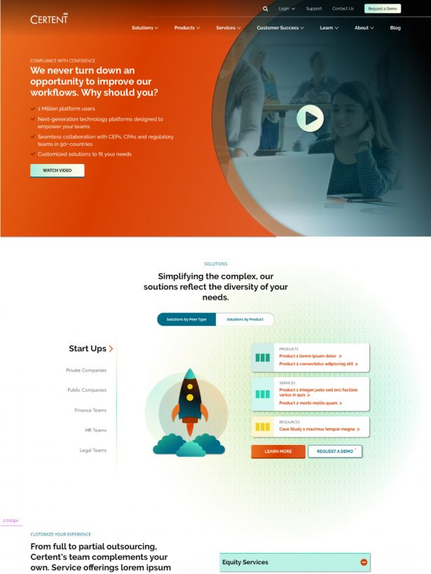 Certent home page design