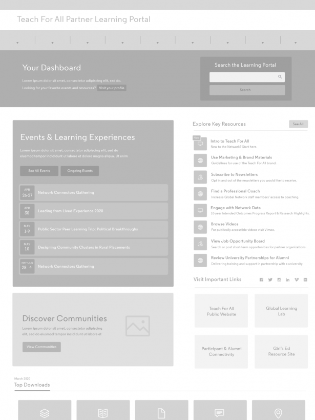 Teach for All learning portal dashboard wire