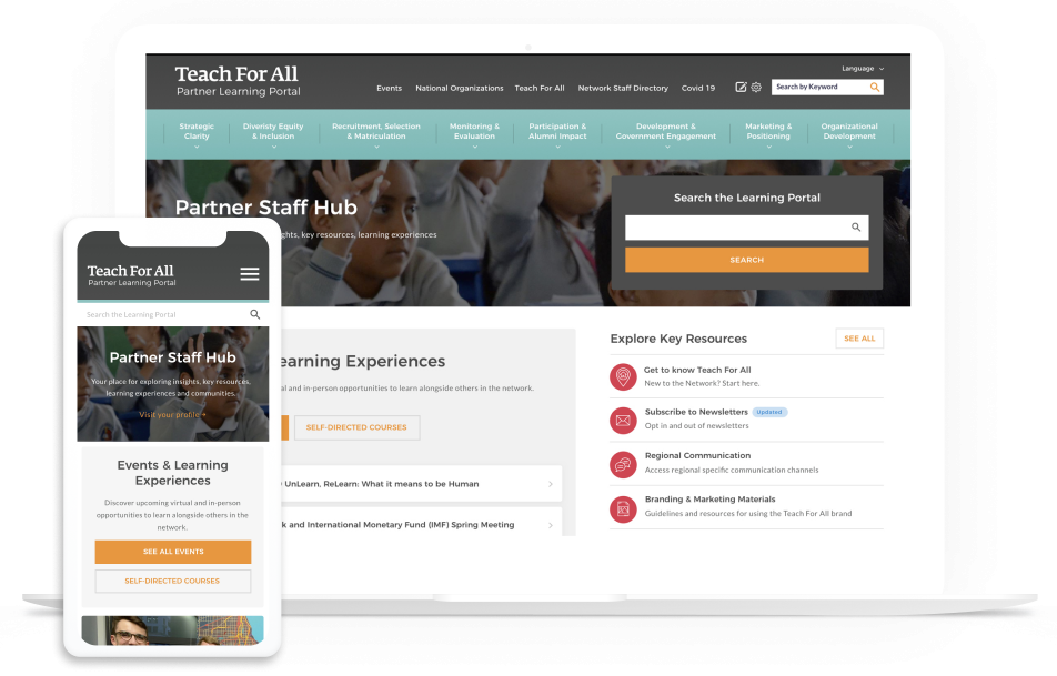 Teach For All home page on multiple devices