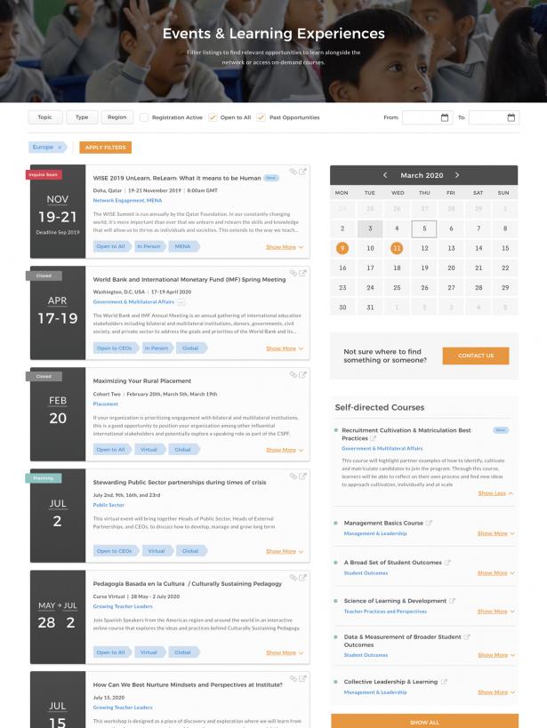 Teach for All Calendar of Events