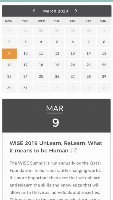Teach for All Learning Portal Calendar