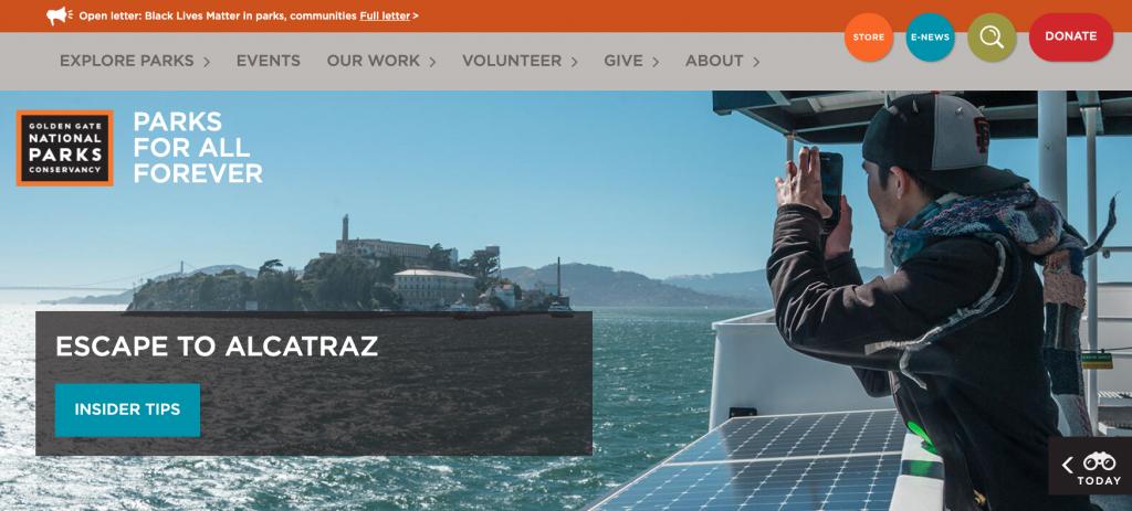 Golden Gate Parks Conservancy website is one of our best nonprofit websites.