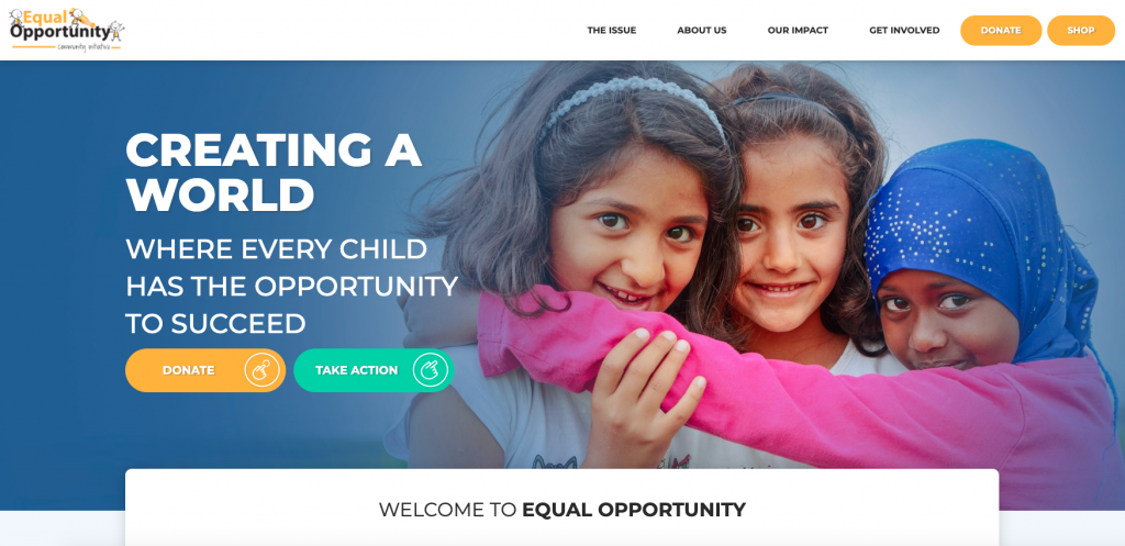 This is a screenshot of Equal Opportunity Community Initiative's nonprofit website.