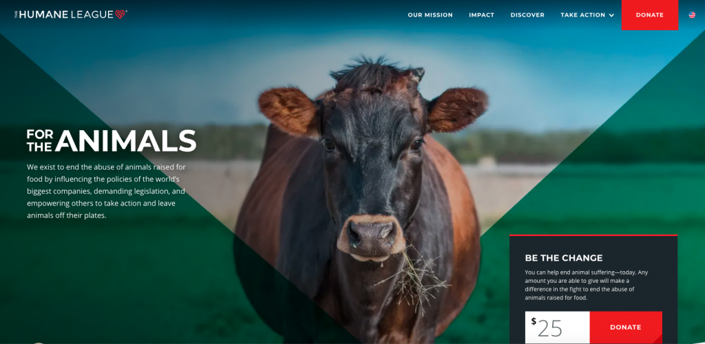 The Humane League is a great example of a top nonprofit website.