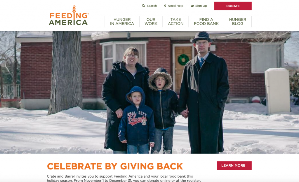 This is a screenshot of Feeding America's homepage, an example of a best nonprofit website.