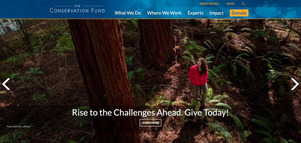 This is a screenshot of the Conservation Fund's homepage and an example of a great nonprofit website.