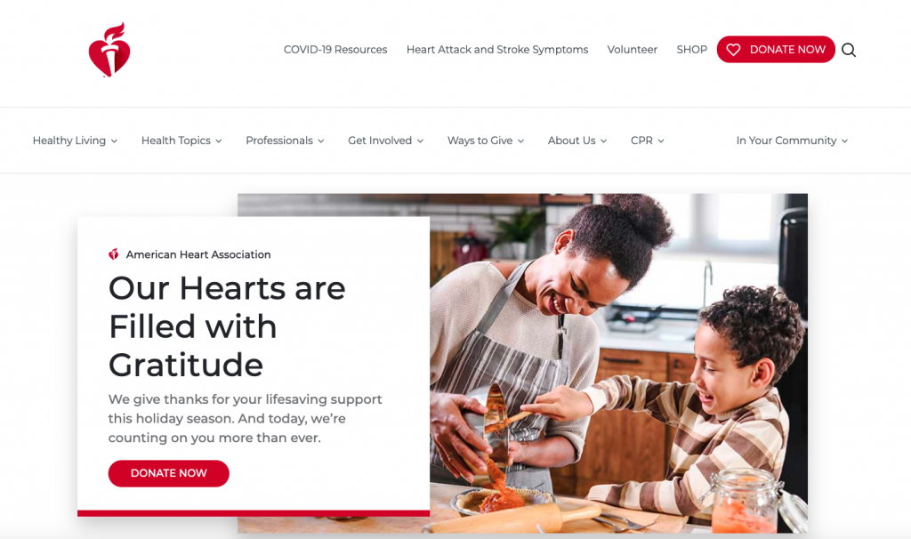 The American Heart Association site is one of our examples for best nonprofit website.