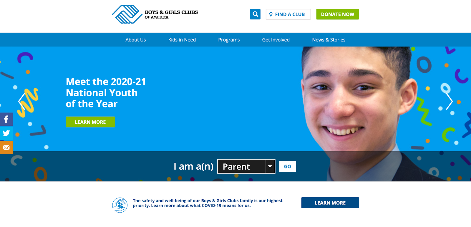 Check out the Boys & Girls Clubs of America for an example of a best nonprofit website.