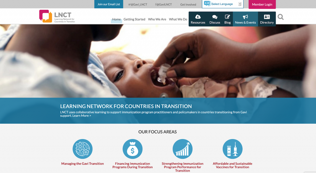The Learning Network for Countries in Transition is an example of a top nonprofit website.