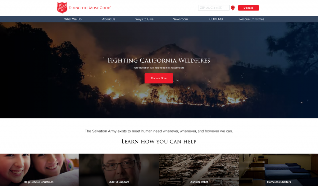 This is a screenshot of the Salvation Army USA, an example of a best nonprofit website.