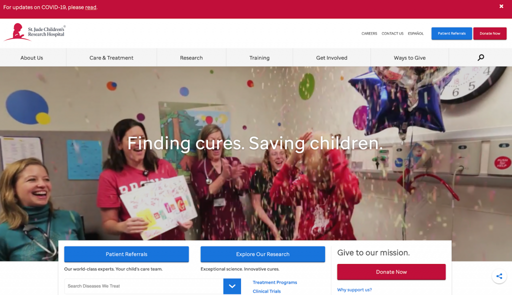 St. Jude Children's Research Hospital is a great example of a best nonprofit website.