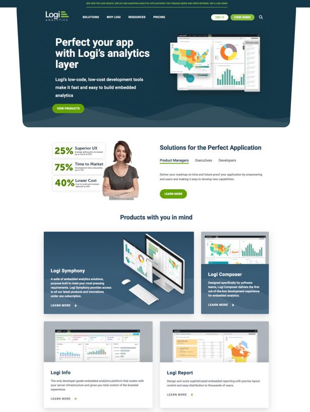Logi new home page design