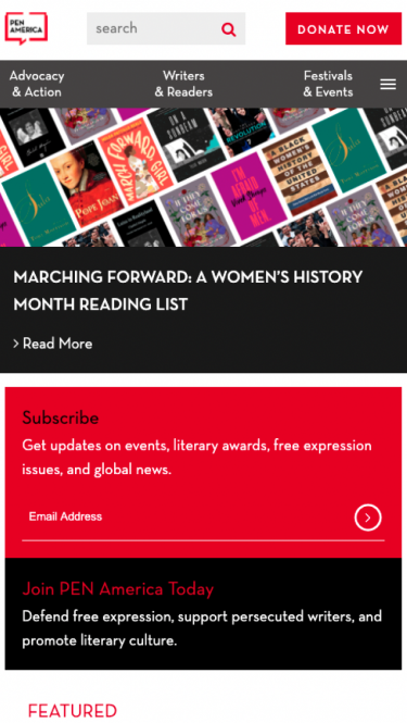 PEN America home page on mobile