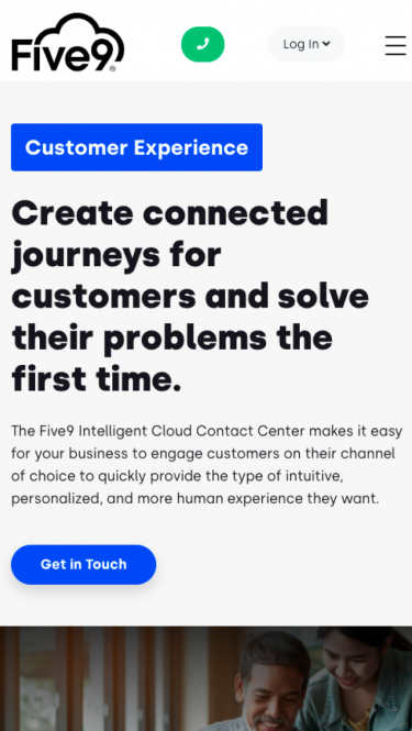 Five9's Customer EQ page on mobile