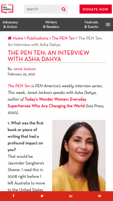 Pen America publications on mobile