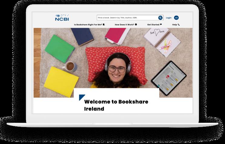 A desktop snapshot of the Bookshare website.