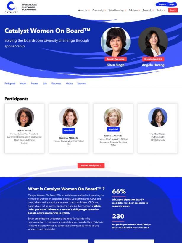Catalyst Women on Board page
